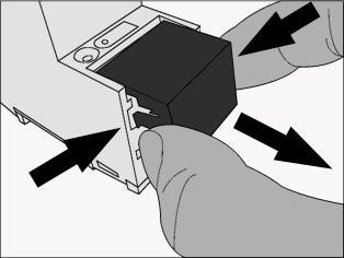 Mounting the cover cap: The cover cap is pushed over the bus terminal until you hear and feel it lock into position (comp. Figure 2A).