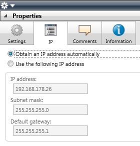 Then select either Obtain an IP address automatically (default) The address data are automatically obtained from a DHCP server on the data network.
