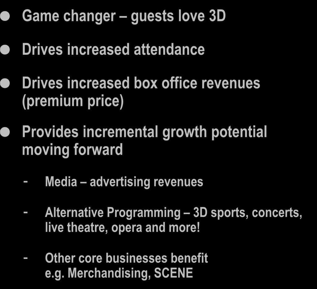 3D Impact 2008 2009 Full Year 2010 % of Total Box Office Revenues from IMAX and 3D 3.4% 14.4% 28.