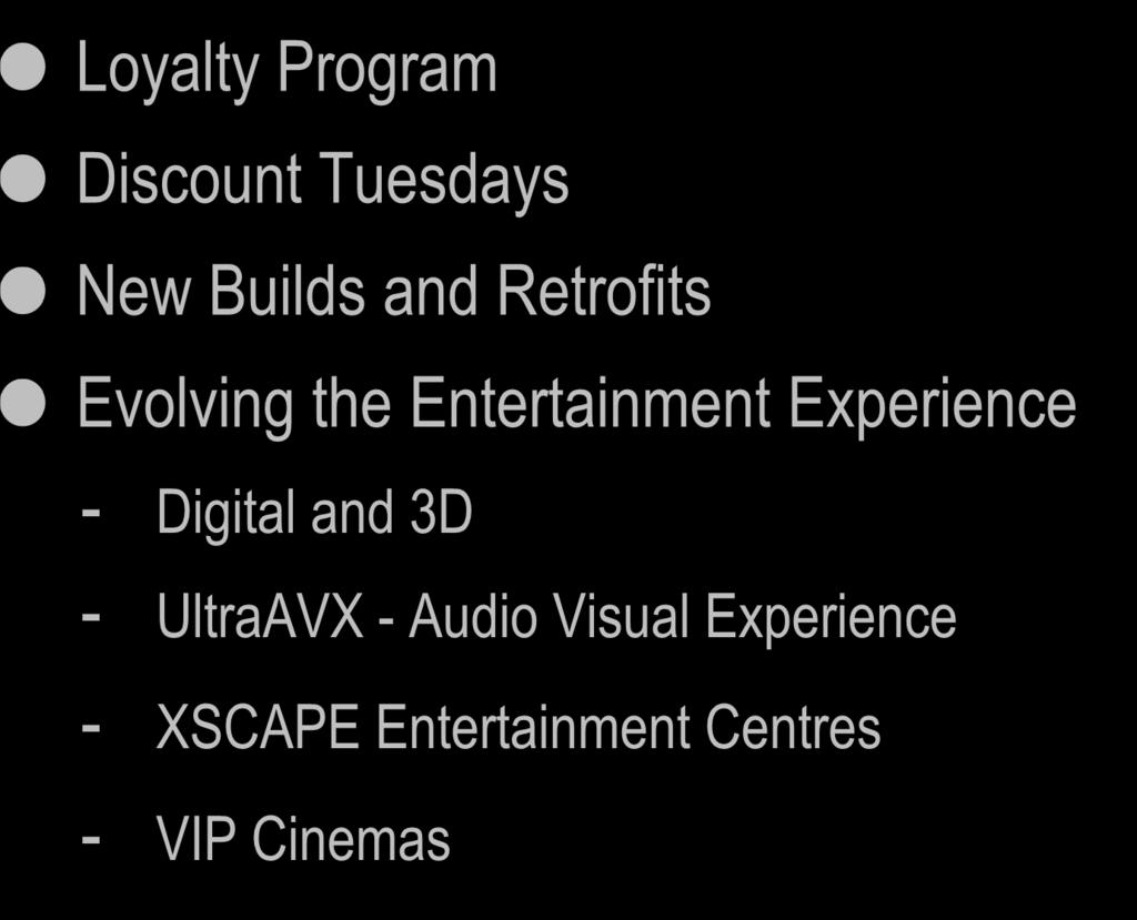 Exhibition Summary Loyalty Program Discount Tuesdays New Builds and Retrofits Evolving the Entertainment