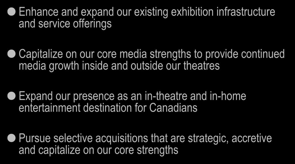 Strategic Areas of Focus Enhance and expand our existing exhibition infrastructure and service offerings Capitalize on our core media strengths to provide continued media growth inside and outside