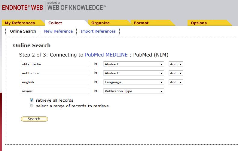 (a) Online search It s possible to search a number of databases from inside EndnoteWeb.