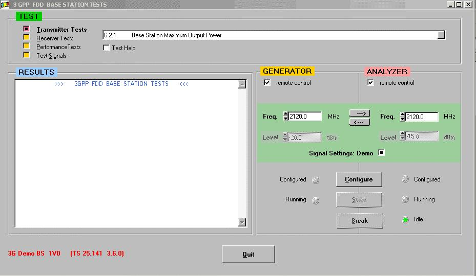 3 Principles of Operation First steps with the demo program For running transmitter tests, you need the FSIQ analyzer.