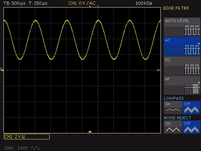 Advanced trigger settings 5.2 Exercise Set the oscilloscope to the default state (PRESET). Don't forget to set the correct duty cycle!