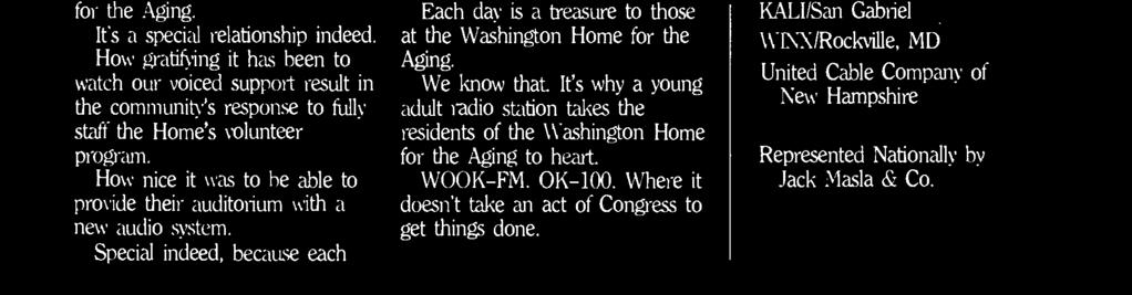 Washington Home for the Aging to heart. WOOK -FM. OK -100.