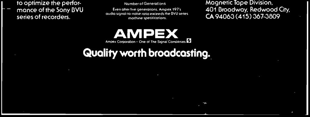 "Ampex 197 - ""Brand A1- I ""Brand B""-0 1 2 Hours in Still Frame Mode Laboratory tests"