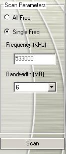 Once you select Single Freq., you need to specify the correct Frequency, for example 533000 (KHz), and Bandwidth. 4. Then click Scan. 5. After scanning, new active channels/programs will be memorized and listed in the left pane of the dialog box.