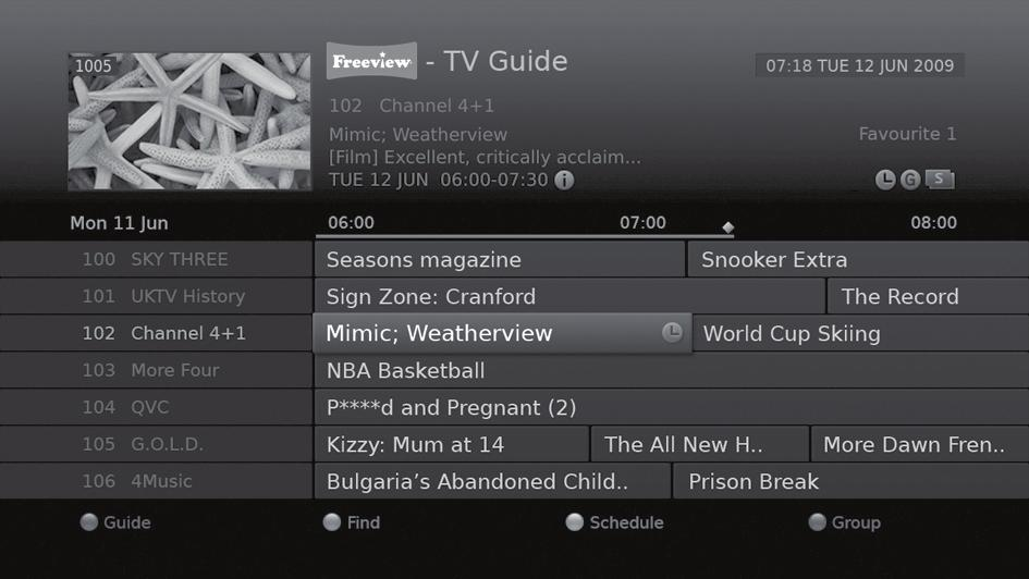 TV Guide The TV guide is an on-screen guide of grid type which displays the programme information of channels in time and date order. You can access the TV guide in several ways.