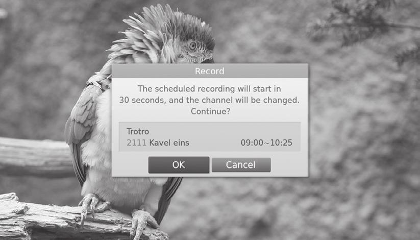 duration. Cancel either of the scheduled recordings (or reminders). Cancel the previous recording.