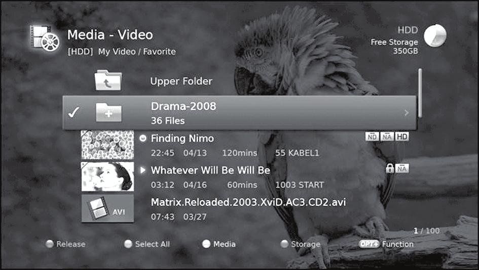 Media List Using Video List You can play TV/Radio recordings or XviD files from the built-in hard disk drive, the USB storage devices, or DLNA compliant devices.