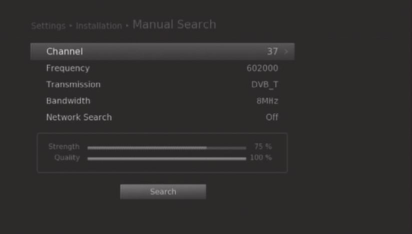 Installation Manual Search You can search channels manually by searching parameters. 1. Select Manual Search. 2. Configure the search options. Channel: Select the channel.