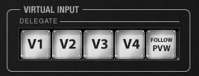 Figure 11 Figure 12 Multi-select the V1 and V2 buttons in the VIRTUAL INPUT DELEGATE button group at right. Push the DDR 1 button on the row labeled A.