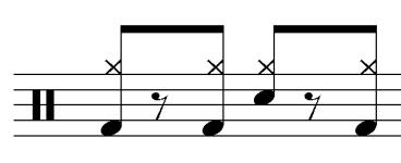 42 grouping. The fourth beat of the pattern is played on the snare drum (Figure 31a). The pattern is fully realized when it comprises an entire measure (Figure 31b). Figure 31a.
