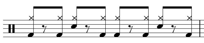 Expanded Hand-to-Foot Distribution Pattern of Lido Shuffle The first six measures of the second and third choruses are comprised entirely of this pattern (mm.