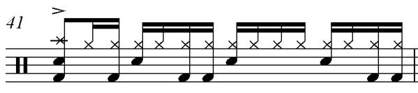 begins with an accent on the downbeat of the first measure and concludes