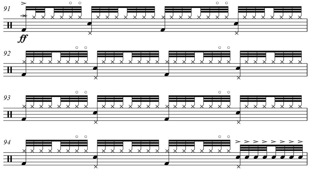 53 Figure 42. Measures 91 94 of Gimme the Goods Unisons A one- or two-note texture is used predominantly throughout all of the choruses.