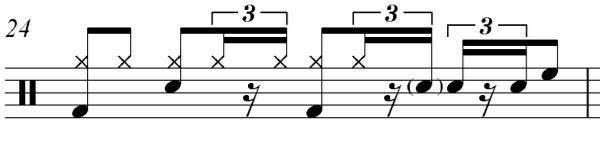 Measure 69 s parallel measure in the first chorus, measure 19, does not include Figure 52c, but instead it maintains steady eighth notes.