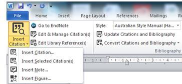 Modifying In-Text Citations Modify in-text citations to include page numbers, see also references or exclude an author s name 1. Click on the citation to highlight it 2.