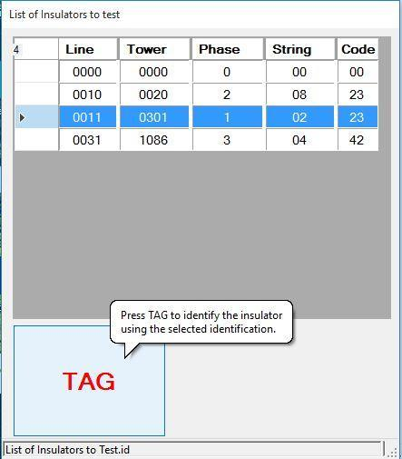Using the Composite Insulator Tester & Software Select TAG and the