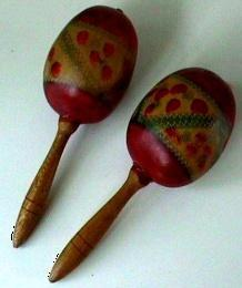 12 Orchestra MARACAS Rattles From South America First made with beans in shells TAMBOURINE