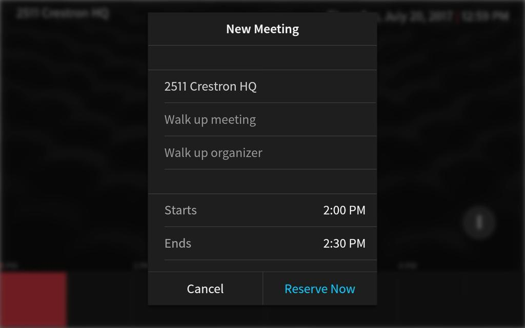 New Meeting Screen 3. Tap the Walk up meeting text field to display an on-screen keyboard.