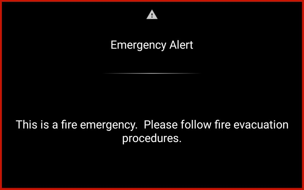 Broadcast Messages When the Crestron Fusion server sends an emergency broadcast message, the scheduling application displays an Emergency Alert screen.