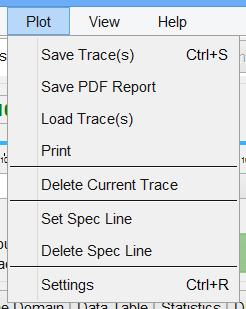 Data traces can be exported when saved as MATLAB, MS EXCEL or CSV files (extension.csv).