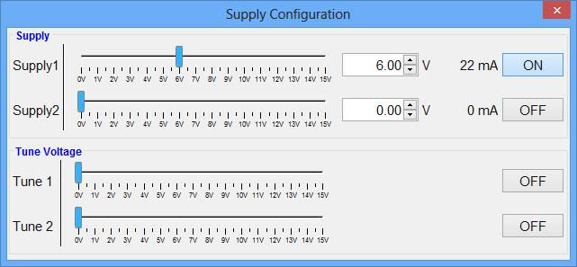 G) Configure Supply (option SUPPLY only): If available with the currently connected device, this button will open the supply dialog in which the output voltage on the two supply channels on the back