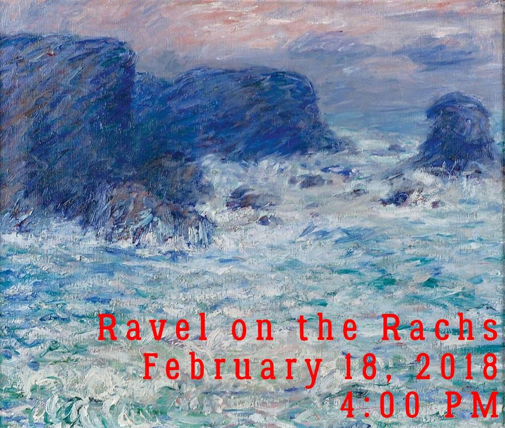 "Ravel on the Rachs Sunday, February 18, 2018 4:00PM ""Ravel on the Rachs"" duo piano and organ concert will feature Andrew Galuska and Rochelle Sallee playing fabulous original and premier arrangements"