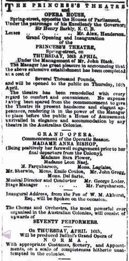 Figure 10.8: Advertisement for the opening of the Princess Theatre and Opera House, and Anna Bishop s Italian Opera season.