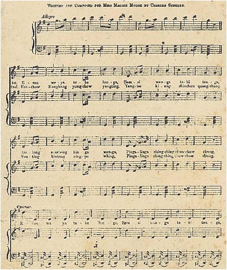 Figure 15.1: First page of Ping-a-ling-a, ching ching, chow chow chong, written and composed by Charles Schultz for Maggie Moore. The song was advertised as a genuine song from a Chinese Opera.