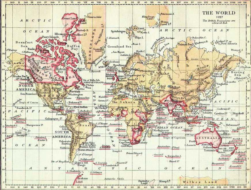 4: The British Empire in 1897 (British Territories marked in red). Courtesy of Cambridge Library.