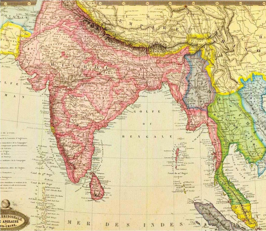 Figure 1.7: British India 1862. British possessions marked in red and purple, Siam marked in green, French Indochina marked in blue, Chinese Empire of the Qing Dynasty.