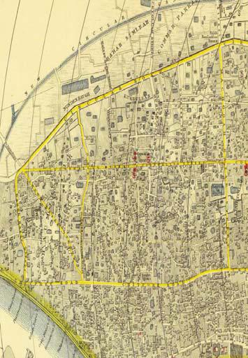 Figure 1.8: Map of the City of Calcutta. The map is oriented with east at the top and north on the left. Courtesy of the David Rumsey Map Collection. Figure 1.
