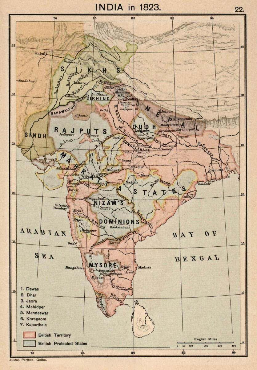 Figure 2.1: British India in 1820. Early High-Colonial Calcutta 1833 1856 By 1833, Britain and the world viewed the subcontinent at part of the British Empire.