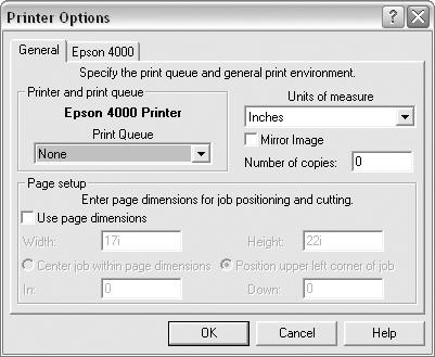 18 Installing and Setting Up the Server Software 3. From the Options menu, choose Printer Options, then click the General tab. 4. Under Print Queue, choose EPSON Stylus Pro 4000.