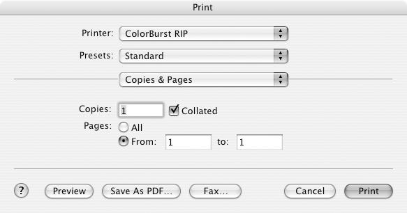 33 Printing When printing over a network, you can print to the ColorBurst RIP from applications (see below) or you can place image files directly into a shared hot folder (page 34).