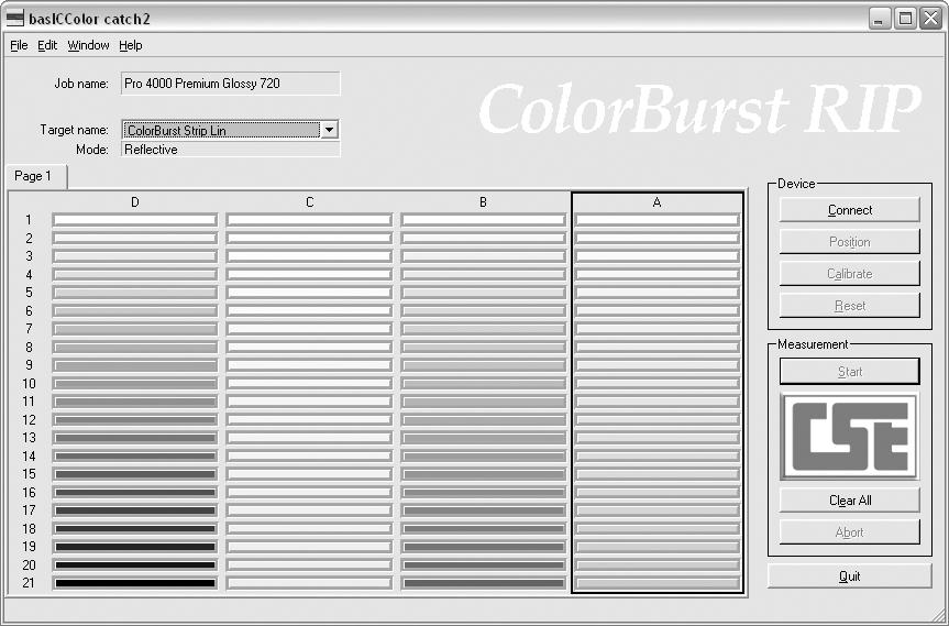 56 Color Management and Printer Linearization Note: If you are using the DPT41, use the ColorBurst DPT41 reader software located in the LIN folder. 10.