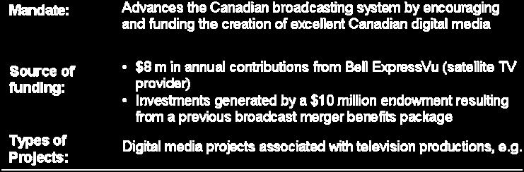 promoted by the fund. 63 Figure 7: The Bell Broadcast and New Media Fund 5.4.