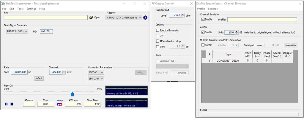 4.3.3. Example The screenshots below are the instrument s main dialog