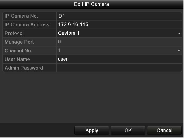 information of the IP camera to be added. 2) Click Add to add the camera.