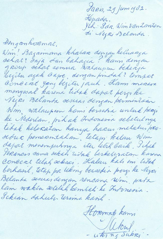 inspiring sundanese music and problematic theories 221 Image 9.2 Letter of 29 June 1982 to author by Uking Sukri when he was on a concert tour in France.