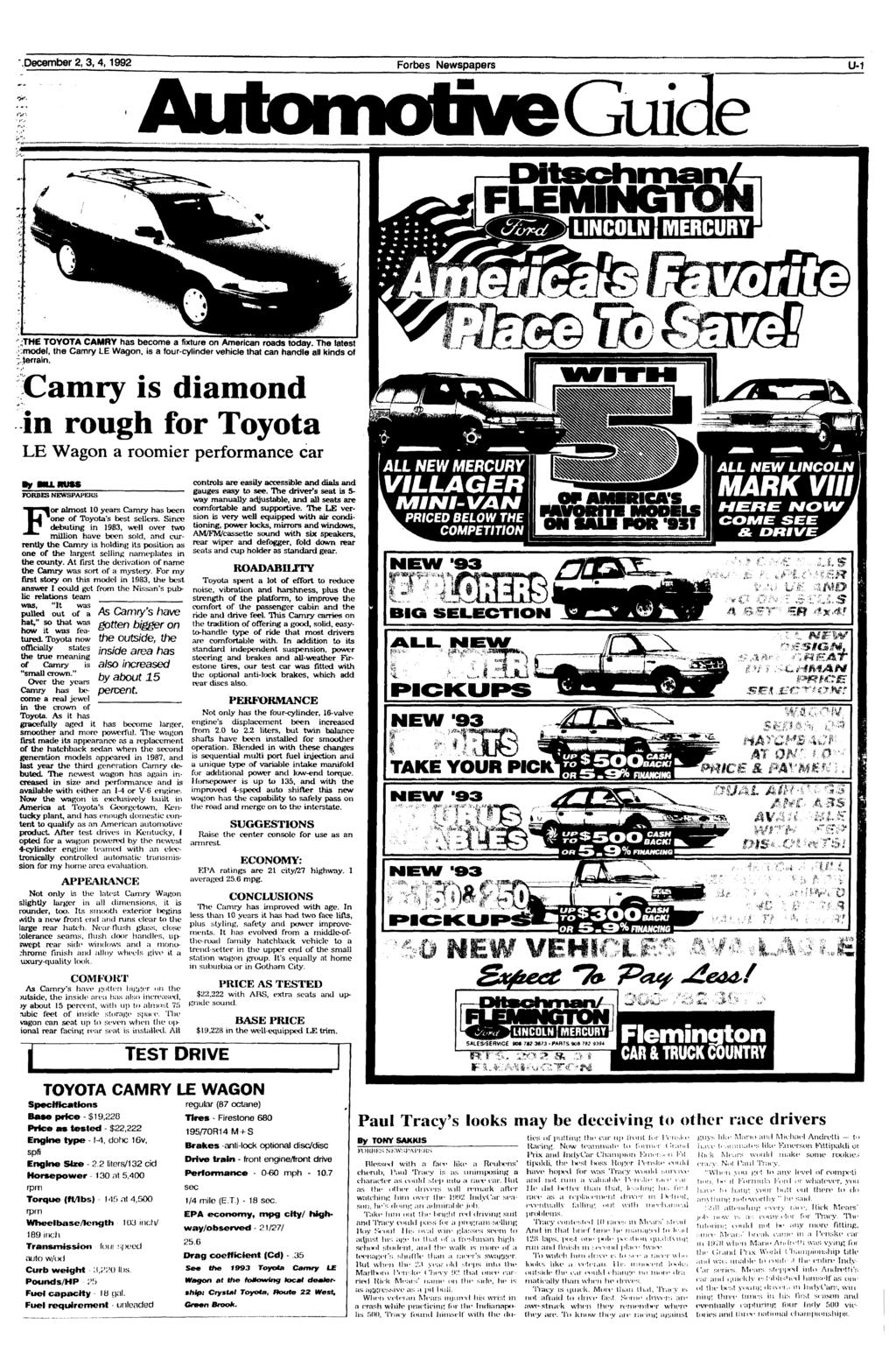 '.December 2, 3,4,1992 Forbes Newspapers U-1 NGTON :THE TOYOTA CAMRY has become a fixture on American roads today.