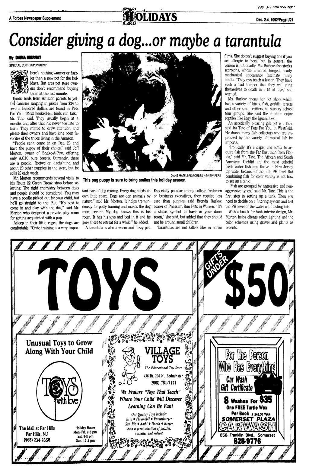 A Forbes Nmpipw Supplement LIDAYS Dec, 2-4,1992/Pagt U21 Consider giving a dog.