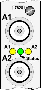 The Status LED (green) indicates the synchronization status of the Module 7628 and is also used for diagnosis of the input signal at the internal synchronization input of the module in case of a