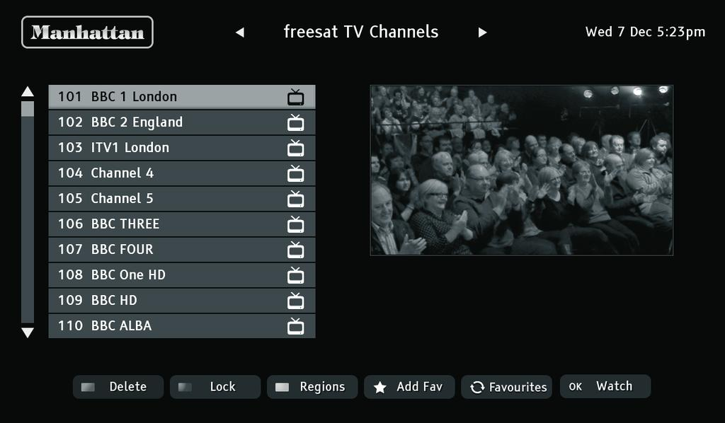 USING THE CHANNEL LIST Display the on-screen channel list by pressing the button on the remote control.