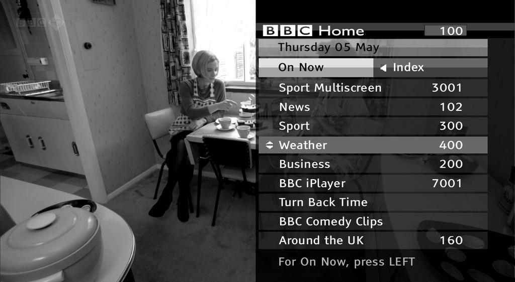 When you have finished with the interactive services, return to watching normal TV by pressing again or the button. PAUSING LIVE TV Leave the programme guide and return to watching TV by pressing or.