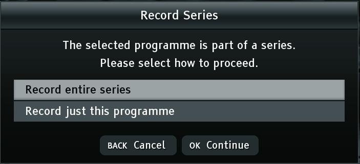 Once a recording has been started, you can change channel to watch another programme and the recording will continue.