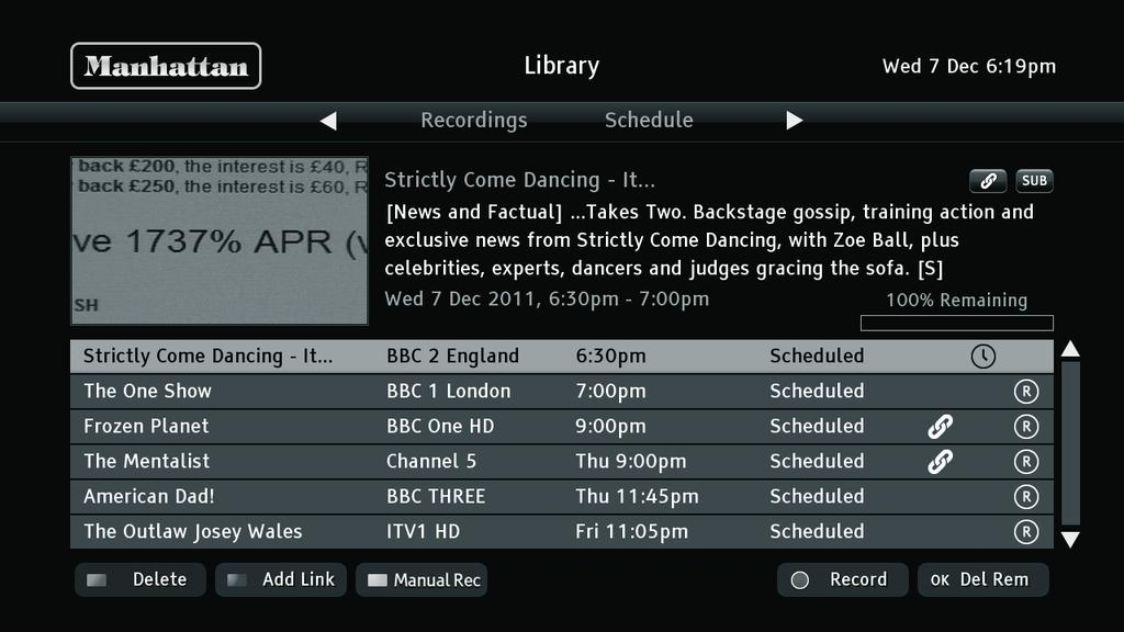 The panel at the top of the screen shows details of the recording highlighted, including the symbols seen in the browsing bar. You can highlight the different recordings listed using the and buttons.