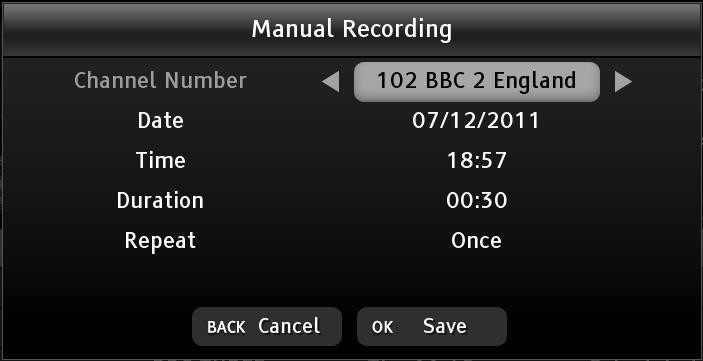 MANUAL TIMER RECORDING (continued) Open the library schedule list by pressing the button followed by the or button, and them press the yellow button to display the manual recording menu.